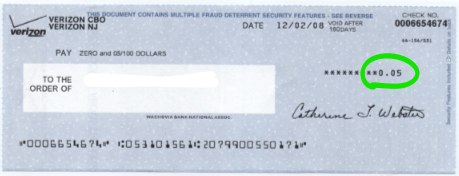 Refund check from Verizon for 5 cents.