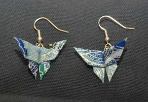 Visit AboveTheFold.org for lovely handmade origami earrings.