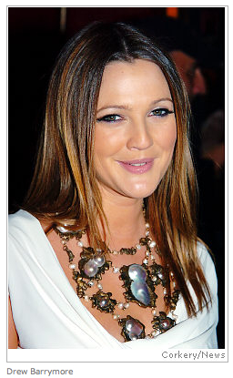 Drew Barrymore models the Empress Carlotta Necklace.