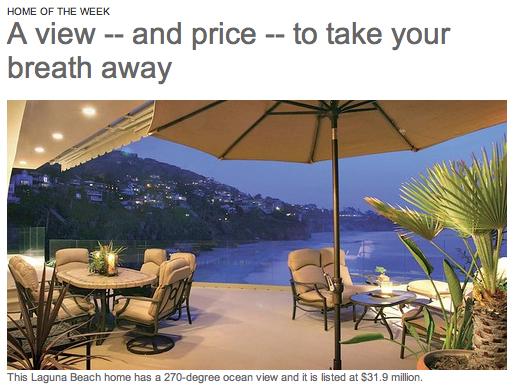 $31million home in Laguna Beach.
