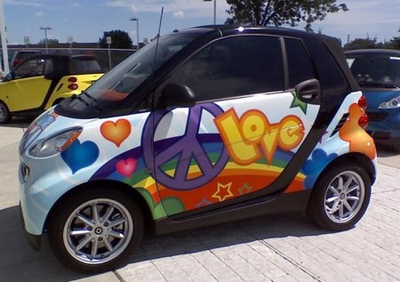 SmartCar with Peace and Love-designed wrap.