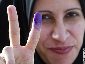 Iraqi woman who just voted.